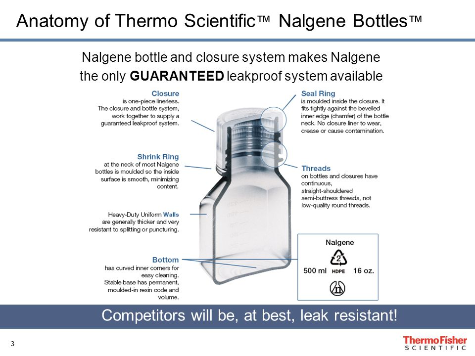 4 Nalgene Key Features Manufacture both bottle and closure to work as a LEAKPROOF system High quality plastic resins (virgin resins, very low extractable) Guarantee quality (Lot Control) Wide Product offering (size, resins, specials) Standards compliant (DMF, FDA, EP …) Customer and Technical Support Ability to manufacture many products in controlled environments and certify sterility Product change control (customer notification) Inventory Support