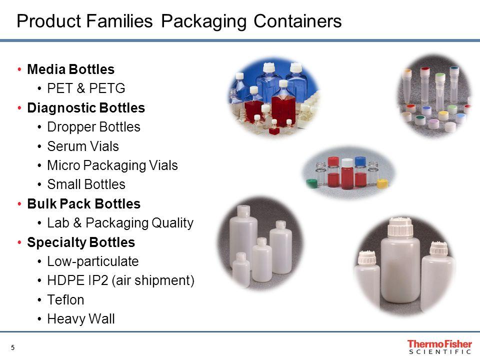 5 Product Families Packaging Containers Media Bottles PET & PETG Diagnostic Bottles Dropper Bottles Serum Vials Micro Packaging Vials Small Bottles Bu