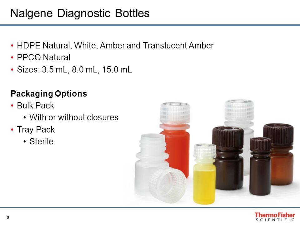 9 Nalgene Diagnostic Bottles HDPE Natural, White, Amber and Translucent Amber PPCO Natural Sizes: 3.5 mL, 8.0 mL, 15.0 mL Packaging Options Bulk Pack