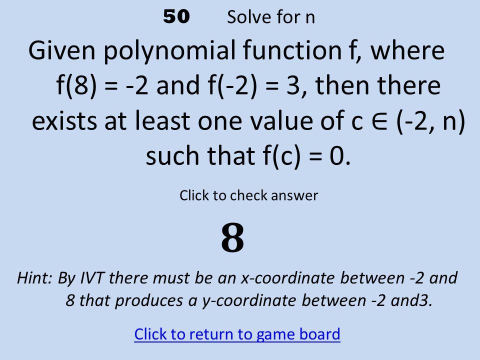 50 Solve for n