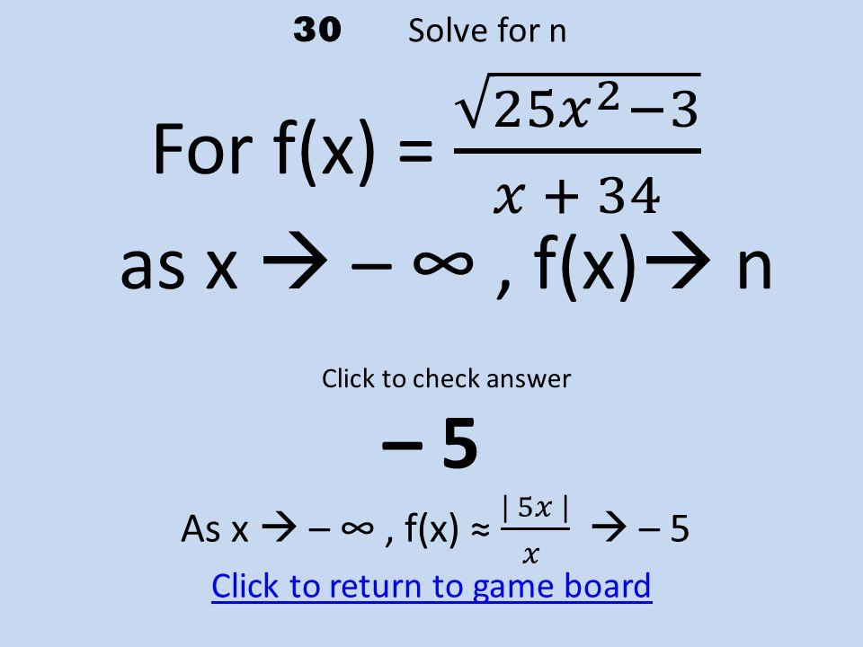 30 Solve for n