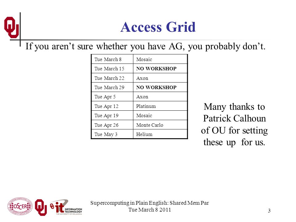 Supercomputing in Plain English: Shared Mem Par Tue March 8 2011 3 Access Grid If you arent sure whether you have AG, you probably dont.
