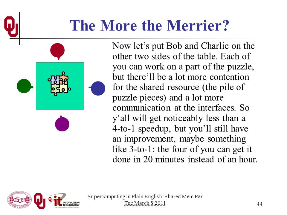 Supercomputing in Plain English: Shared Mem Par Tue March 8 2011 44 The More the Merrier.