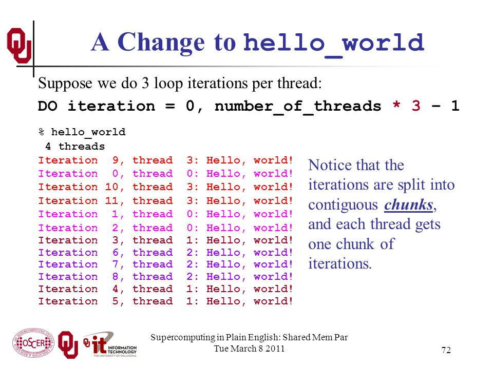 Supercomputing in Plain English: Shared Mem Par Tue March 8 2011 72 A Change to hello_world % hello_world 4 threads Iteration 9, thread 3: Hello, world.