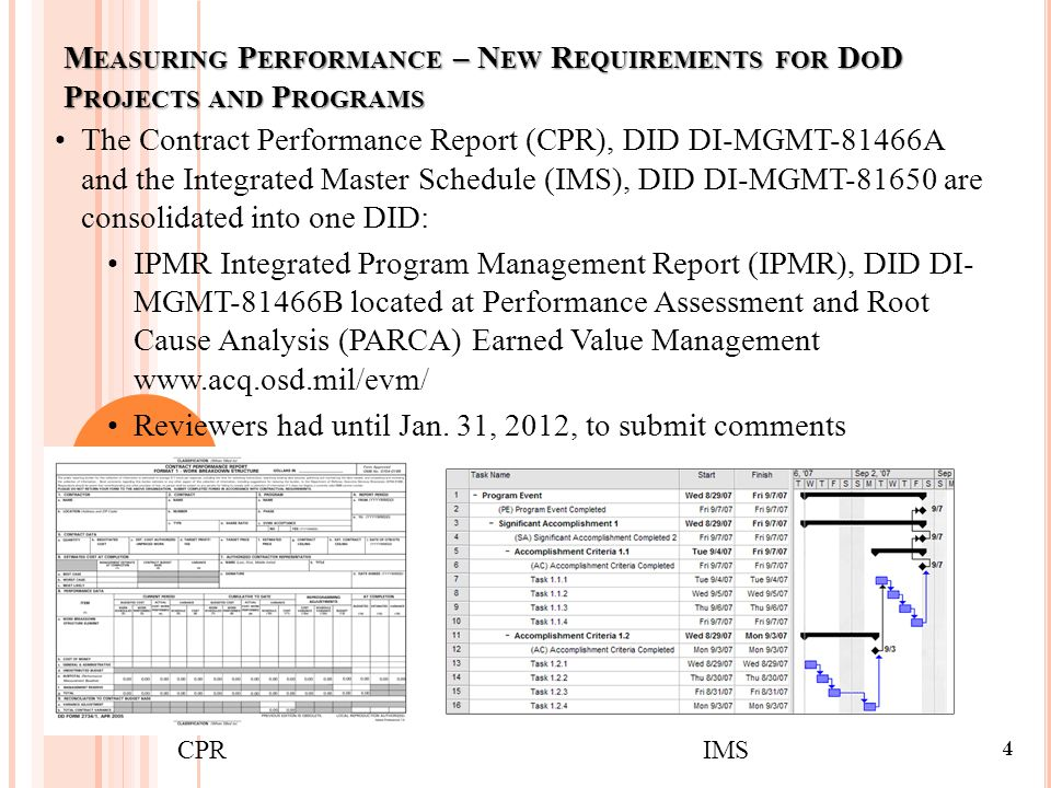 4 The Contract Performance Report (CPR), DID DI-MGMT-81466A and the Integrated Master Schedule (IMS), DID DI-MGMT-81650 are consolidated into one DID: