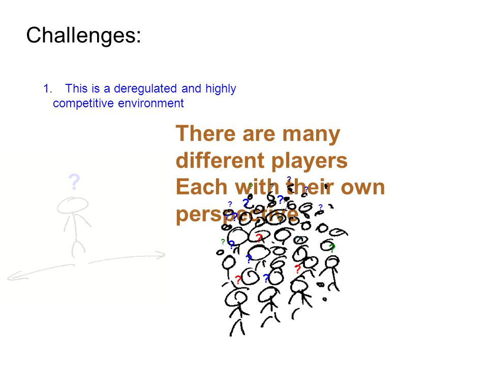 Challenges: 1.This is a deregulated and highly competitive environment There are many different players Each with their own perspective .