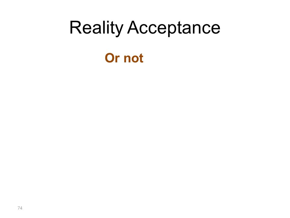 Reality Acceptance Or not 74