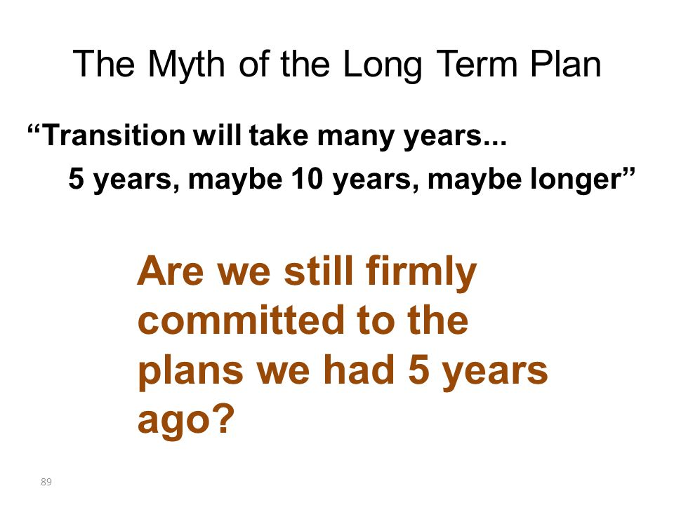 The Myth of the Long Term Plan Transition will take many years...