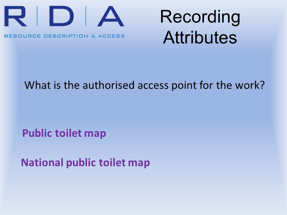 What is the authorised access point for the work? Public toilet map Recording Attributes National public toilet map