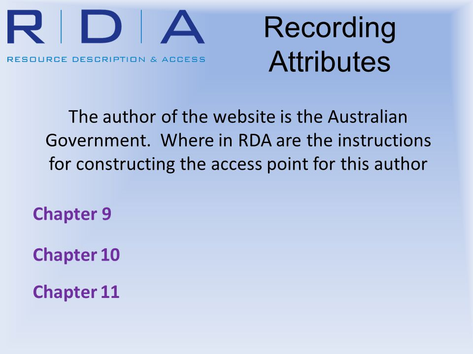 Recording Attributes The author of the website is the Australian Government. Where in RDA are the instructions for constructing the access point for t