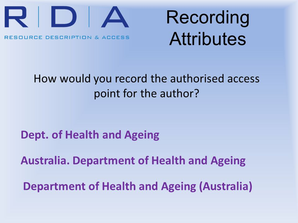 Recording Attributes How would you record the authorised access point for the author? Dept. of Health and Ageing Australia. Department of Health and A