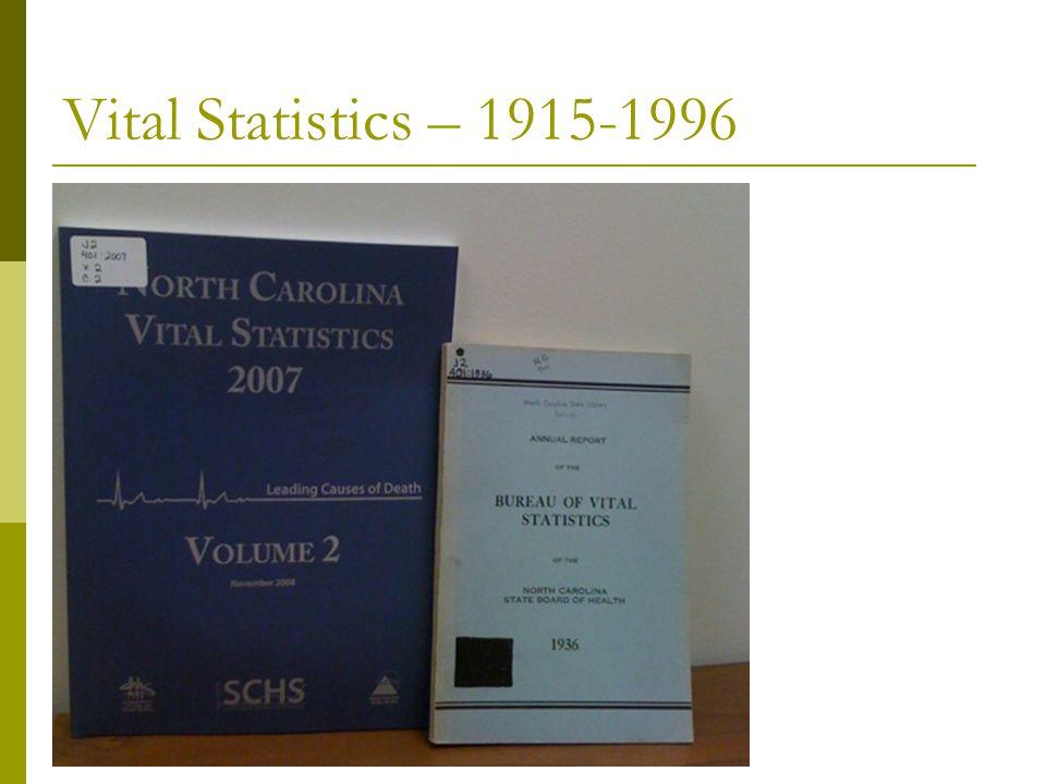 Vital Statistics – 1915-1996