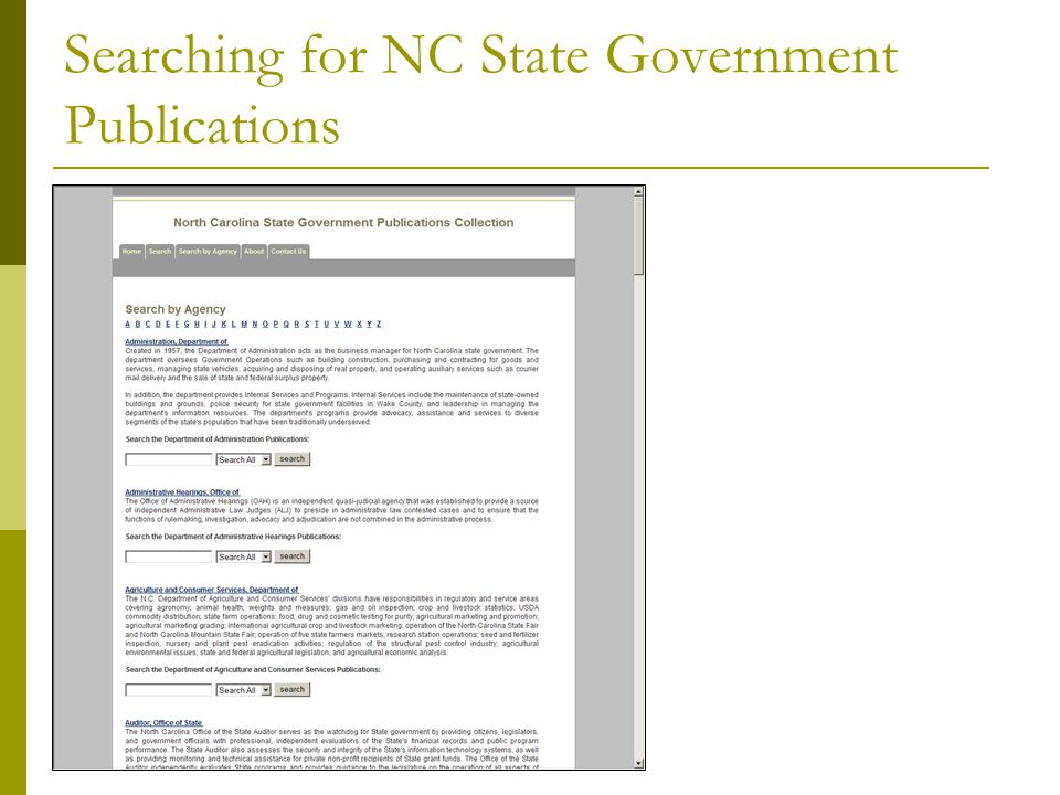 Searching for NC State Government Publications