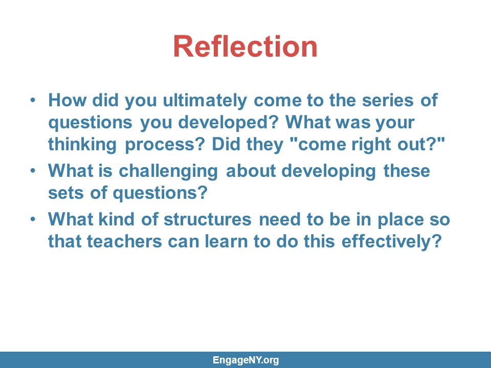 Reflection How did you ultimately come to the series of questions you developed.