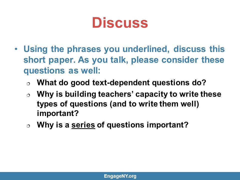 Discuss Using the phrases you underlined, discuss this short paper.