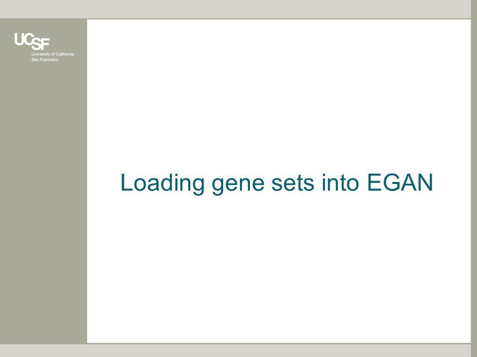 Loading gene sets into EGAN