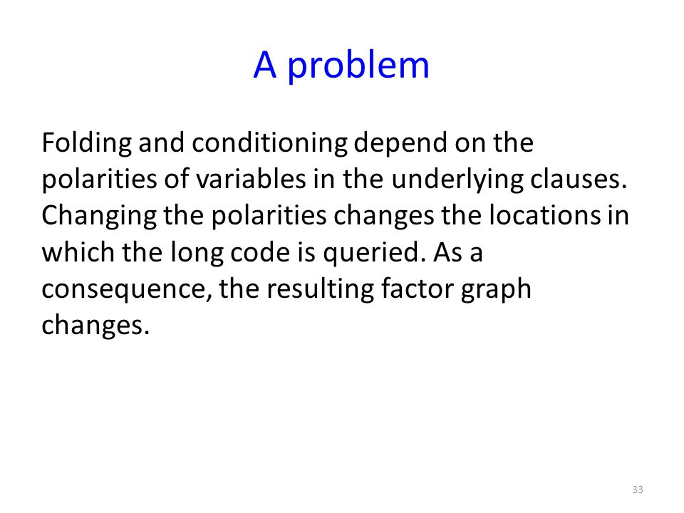 A problem Folding and conditioning depend on the polarities of variables in the underlying clauses.