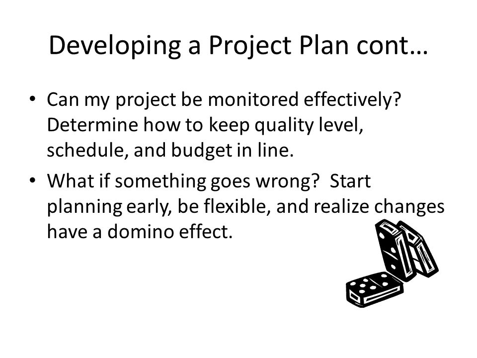 Developing a Project Plan cont… Can my project be monitored effectively.