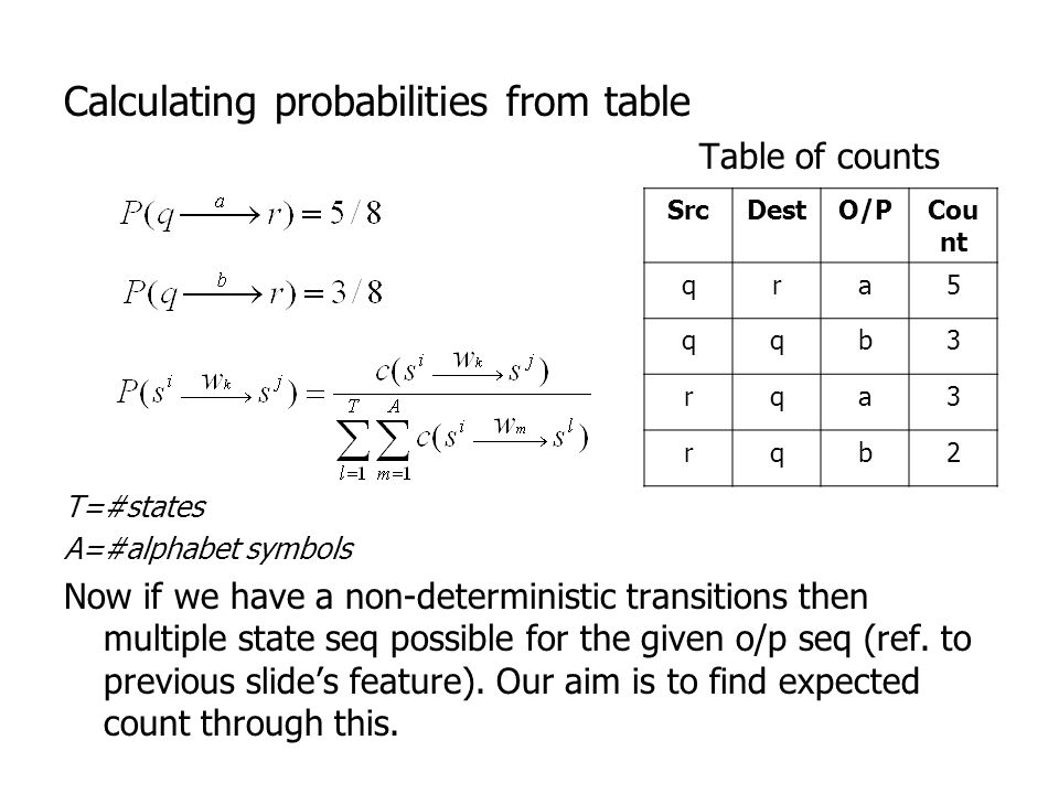 Calculating probabilities from table Table of counts T=#states A=#alphabet symbols Now if we have a non-deterministic transitions then multiple state seq possible for the given o/p seq (ref.