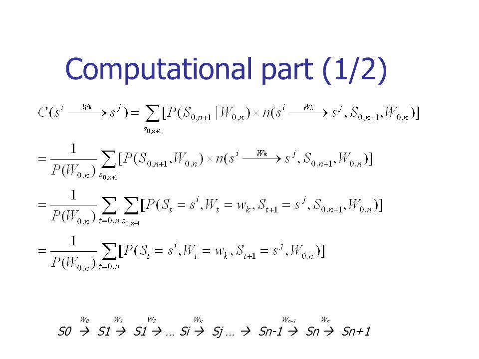 Computational part (1/2) w 0 w 1 w 2 w k w n-1 w n S0 S1 S1 … Si Sj … Sn-1 Sn Sn+1