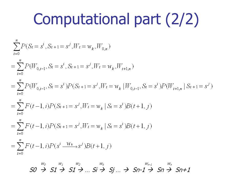 Computational part (2/2) w 0 w 1 w 2 w k w n-1 w n S0 S1 S1 … Si Sj … Sn-1 Sn Sn+1