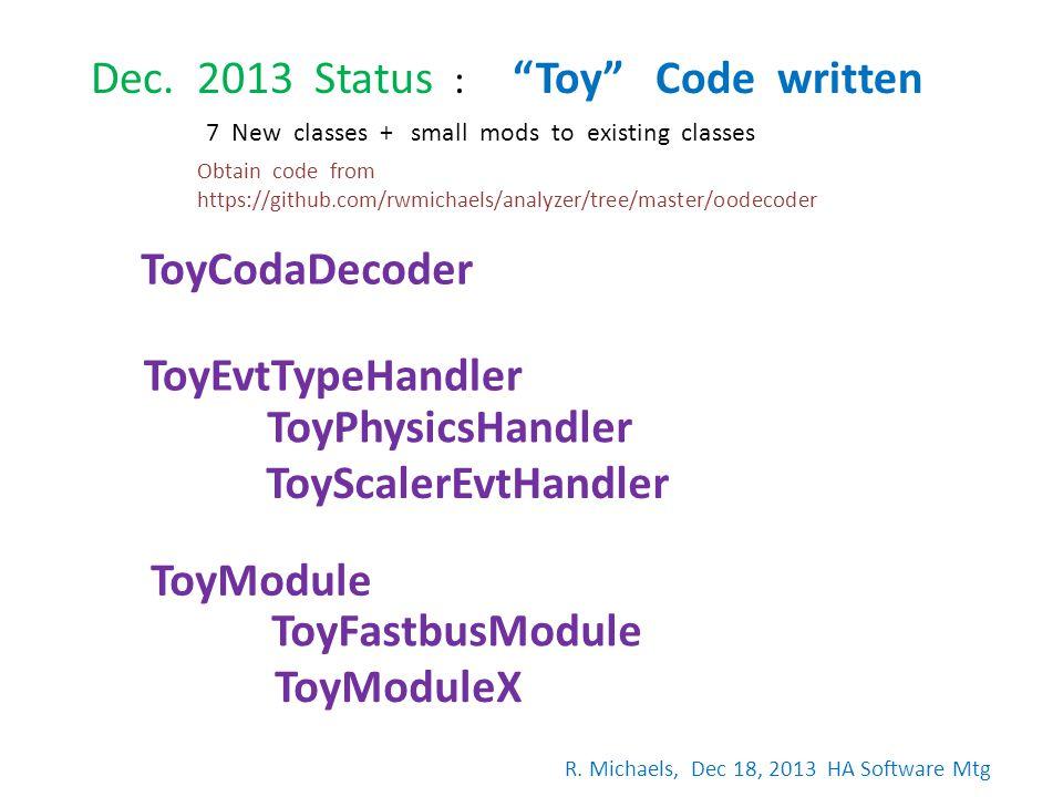 Dec. 2013 Status : Toy Code written ToyCodaDecoder ToyEvtTypeHandler ToyPhysicsHandler ToyScalerEvtHandler ToyModule ToyFastbusModule ToyModuleX 7 New