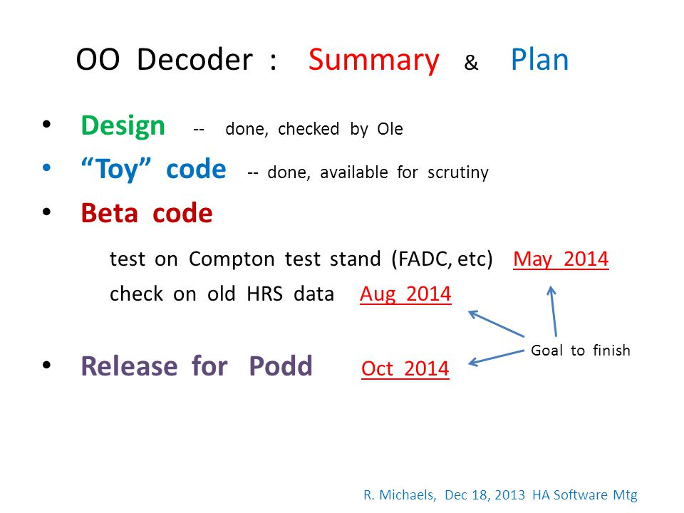 Design -- done, checked by Ole Toy code -- done, available for scrutiny Beta code test on Compton test stand (FADC, etc) May 2014 check on old HRS dat