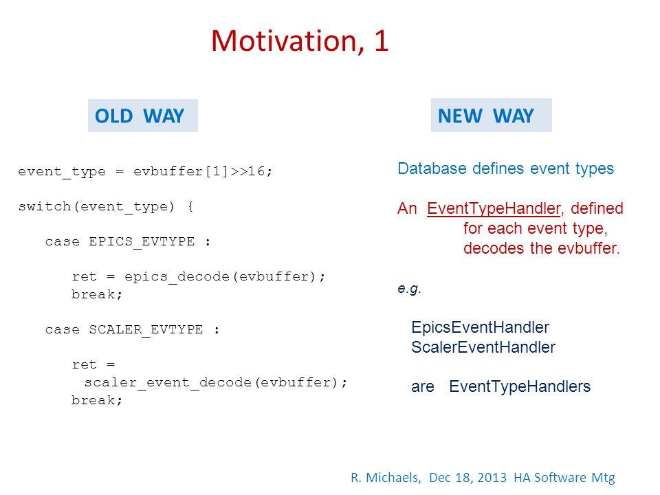 event_type = evbuffer[1]>>16; switch(event_type) { case EPICS_EVTYPE : ret = epics_decode(evbuffer); break; case SCALER_EVTYPE : ret = scaler_event_de