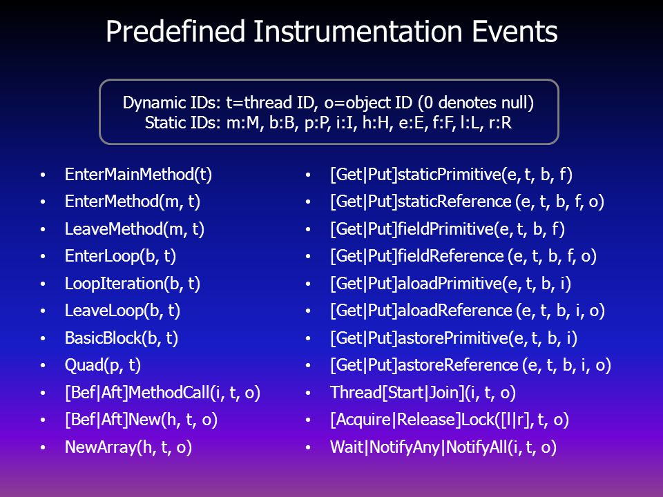 Predefined Instrumentation Events EnterMainMethod(t) EnterMethod(m, t) LeaveMethod(m, t) EnterLoop(b, t) LoopIteration(b, t) LeaveLoop(b, t) BasicBlock(b, t) Quad(p, t) [Bef Aft]MethodCall(i, t, o) [Bef Aft]New(h, t, o) NewArray(h, t, o) [Get Put]staticPrimitive(e, t, b, f) [Get Put]staticReference (e, t, b, f, o) [Get Put]fieldPrimitive(e, t, b, f) [Get Put]fieldReference (e, t, b, f, o) [Get Put]aloadPrimitive(e, t, b, i) [Get Put]aloadReference (e, t, b, i, o) [Get Put]astorePrimitive(e, t, b, i) [Get Put]astoreReference (e, t, b, i, o) Thread[Start Join](i, t, o) [Acquire Release]Lock([l r], t, o) Wait NotifyAny NotifyAll(i, t, o) Dynamic IDs: t=thread ID, o=object ID (0 denotes null) Static IDs: m:M, b:B, p:P, i:I, h:H, e:E, f:F, l:L, r:R