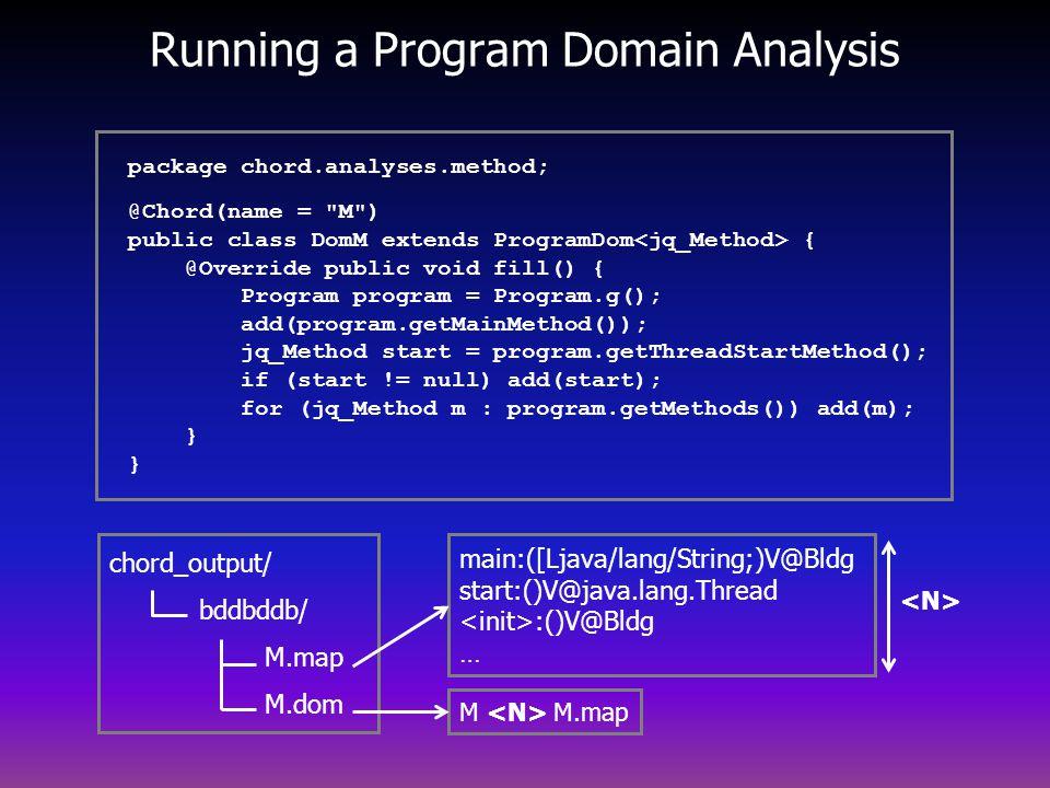 Running a Program Domain Analysis main:([Ljava/lang/String;)V@Bldg start:()V@java.lang.Thread :()V@Bldg … M M.map chord_output/ bddbddb/ M.map M.dom package chord.analyses.method; @Chord(name = M ) public class DomM extends ProgramDom { @Override public void fill() { Program program = Program.g(); add(program.getMainMethod()); jq_Method start = program.getThreadStartMethod(); if (start != null) add(start); for (jq_Method m : program.getMethods()) add(m); } }