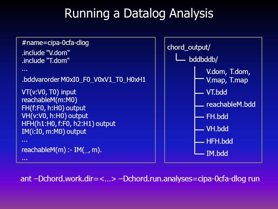Running a Datalog Analysis chord_output/ bddbddb/ V.dom, T.dom, V.map, T.map VT.bdd reachableM.bdd FH.bdd VH.bdd HFH.bdd IM.bdd #name=cipa-0cfa-dlog.include V.dom .include T.dom ....bddvarorder M0xI0_F0_V0xV1_T0_H0xH1 VT(v:V0, T0) input reachableM(m:M0) FH(f:F0, h:H0) output VH(v:V0, h:H0) output HFH(h1:H0, f:F0, h2:H1) output IM(i:I0, m:M0) output...