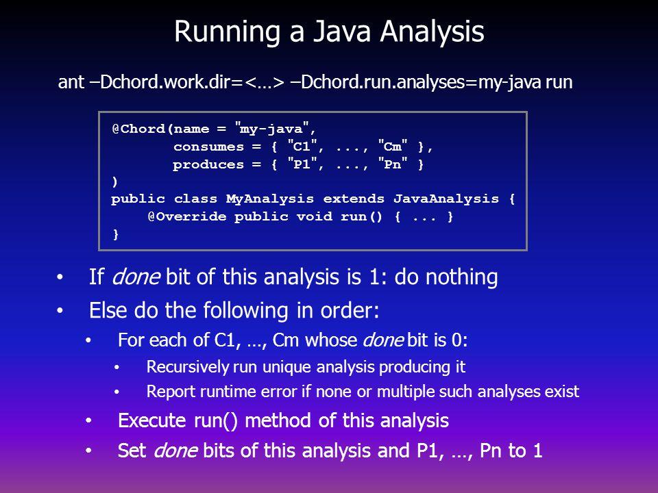 Running a Java Analysis ant –Dchord.work.dir= –Dchord.run.analyses=my-java run @Chord(name = my-java , consumes = { C1 ,..., Cm }, produces = { P1 ,..., Pn } ) public class MyAnalysis extends JavaAnalysis { @Override public void run() {...
