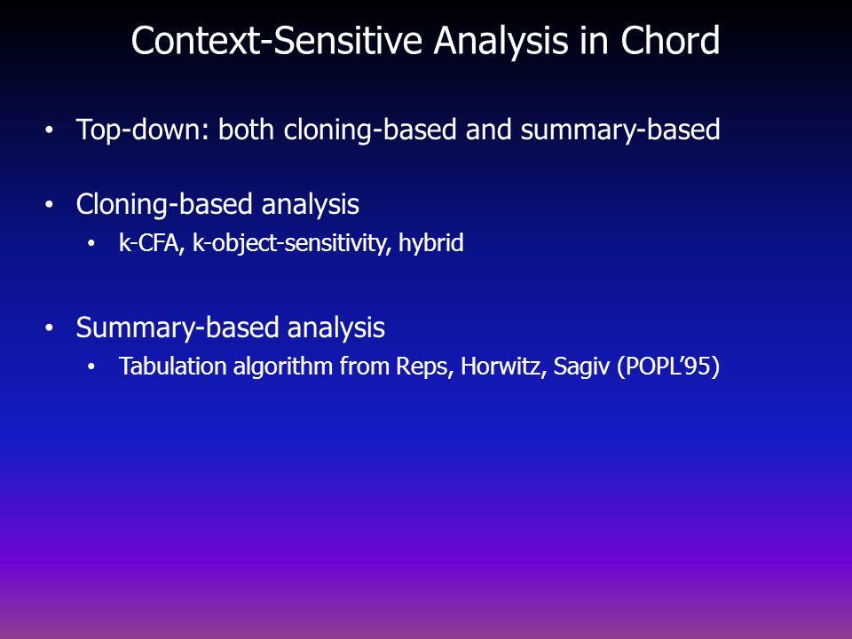 Context-Sensitive Analysis in Chord Top-down: both cloning-based and summary-based Cloning-based analysis k-CFA, k-object-sensitivity, hybrid Summary-based analysis Tabulation algorithm from Reps, Horwitz, Sagiv (POPL95)