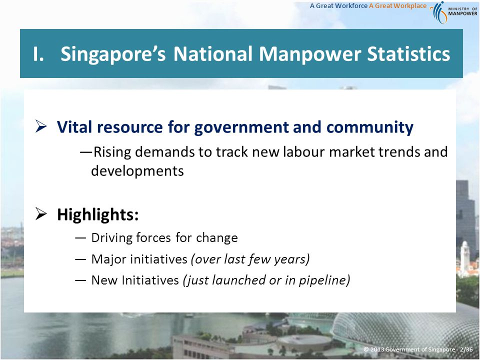 A Great Workforce A Great Workplace A.Understanding fast changing economic & social environment Demand for more detailed labour market statistics Rising volume and complexity of statistical information required Growing reporting burden on respondents More complex questionnaires, survey e-templates and validation rules II.DRIVING FORCES FOR CHANGE © 2013 Government of Singapore 3/36