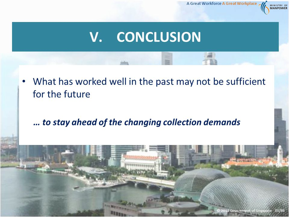 A Great Workforce A Great Workplace What has worked well in the past may not be sufficient for the future … to stay ahead of the changing collection demands V.CONCLUSION © 2013 Government of Singapore 35/36