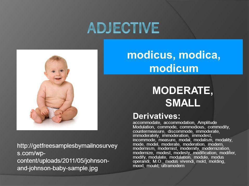 modicus, modica, modicum MODERATE, SMALL Derivatives: accommodate, accommodation, Amplitude Modulation, commode, commodious, commodity, countermeasure