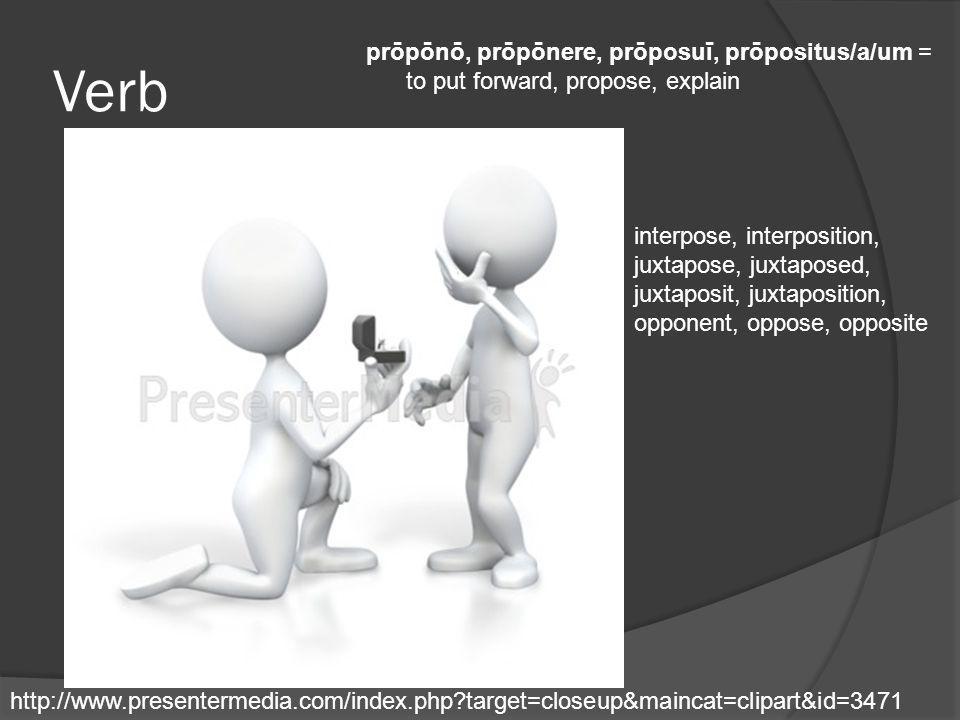 Verb prōpōnō, prōpōnere, prōposuī, prōpositus/a/um = to put forward, propose, explain http://www.presentermedia.com/index.php?target=closeup&maincat=c
