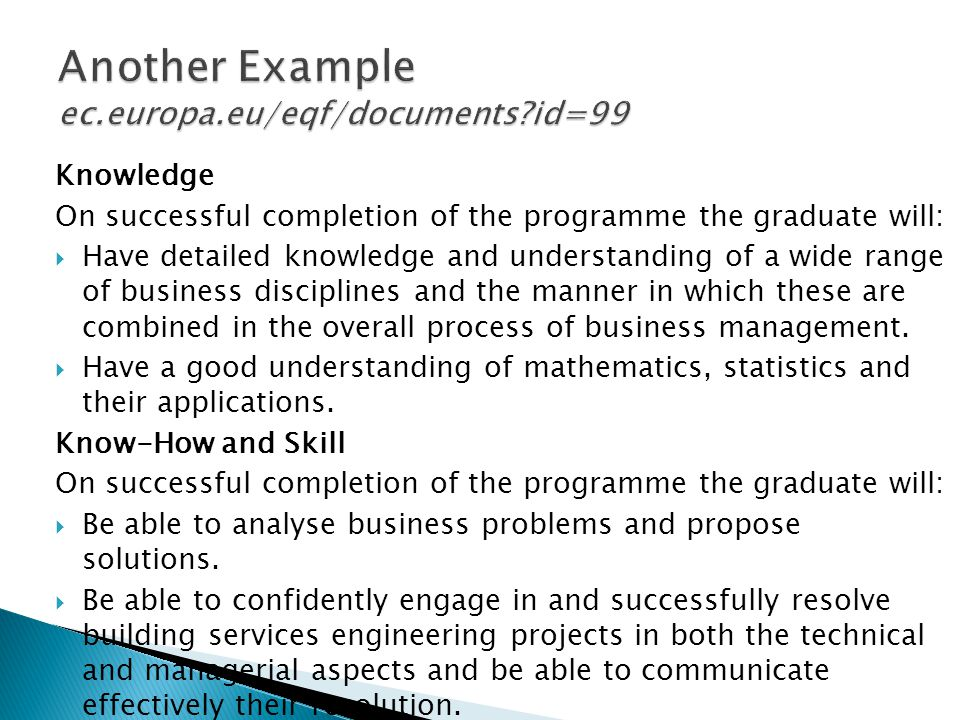 Knowledge On successful completion of the programme the graduate will: Have detailed knowledge and understanding of a wide range of business disciplines and the manner in which these are combined in the overall process of business management.