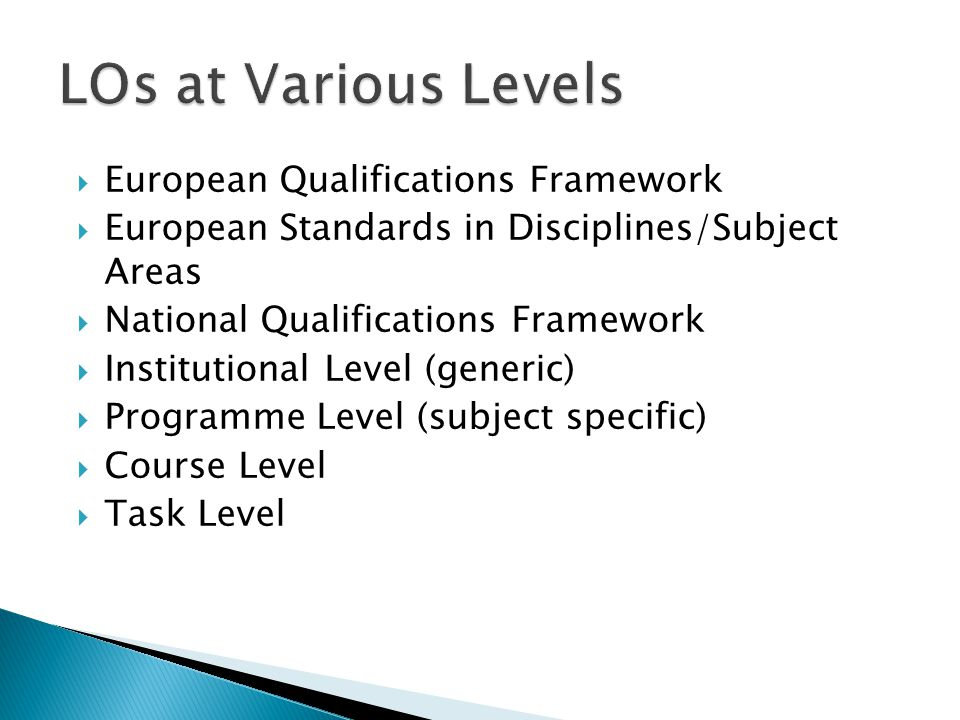 European Qualifications Framework European Standards in Disciplines/Subject Areas National Qualifications Framework Institutional Level (generic) Programme Level (subject specific) Course Level Task Level