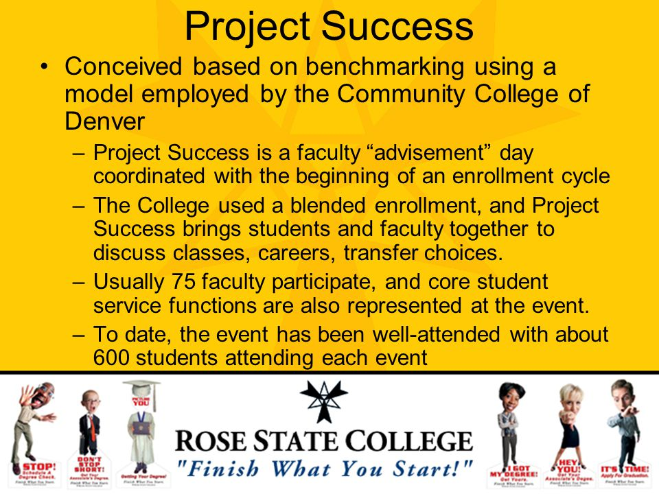 Project Success Conceived based on benchmarking using a model employed by the Community College of Denver –Project Success is a faculty advisement day