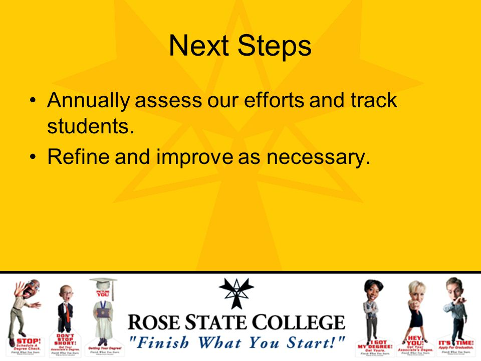 Next Steps Annually assess our efforts and track students. Refine and improve as necessary.