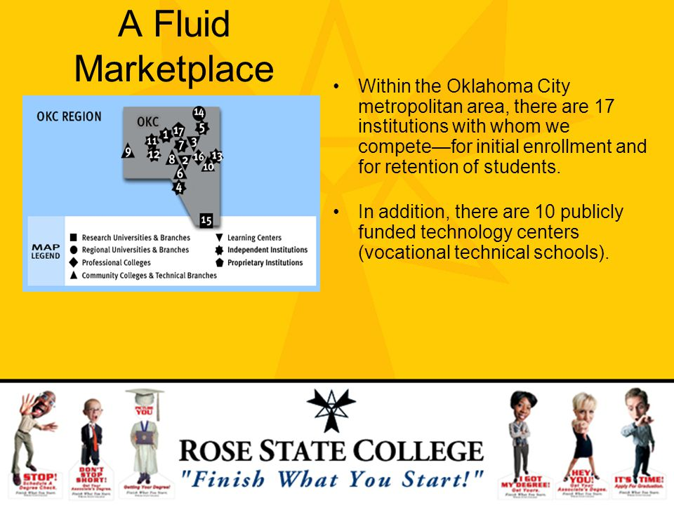 A Fluid Marketplace Within the Oklahoma City metropolitan area, there are 17 institutions with whom we competefor initial enrollment and for retention