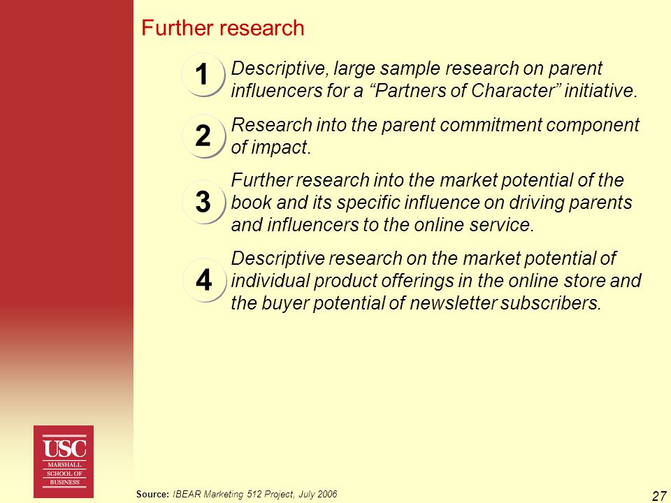 27 1 Further research 2 Descriptive, large sample research on parent influencers for a Partners of Character initiative.