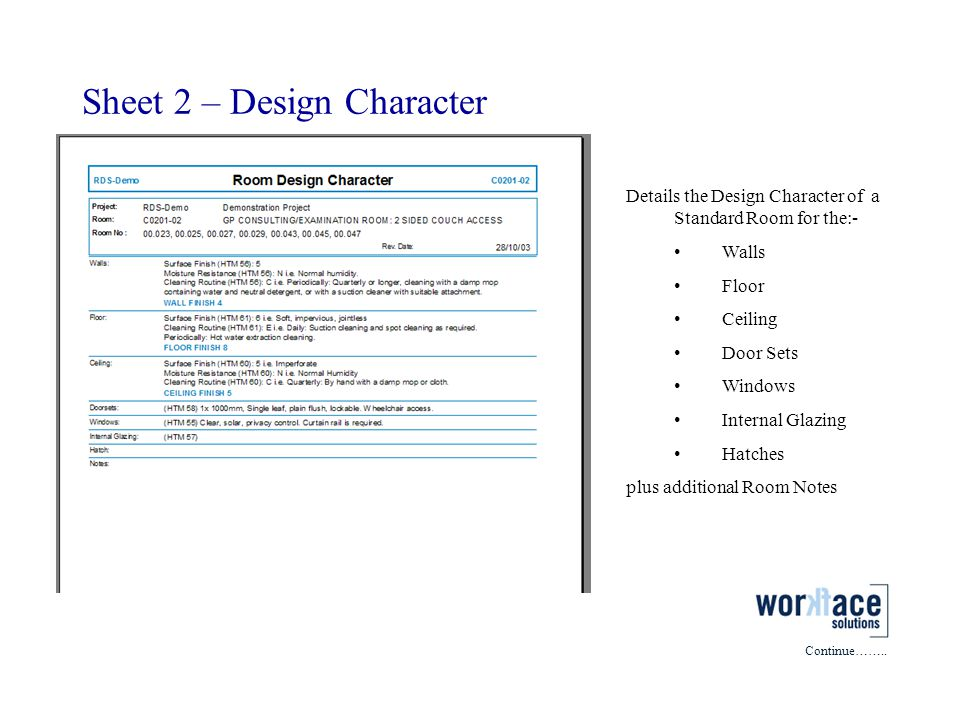 Sheet 2 – Design Character Details the Design Character of a Standard Room for the:- Walls Floor Ceiling Door Sets Windows Internal Glazing Hatches pl