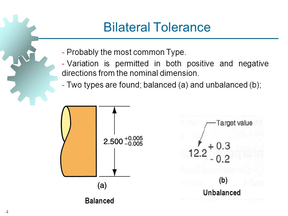 Bilateral Tolerance - Probably the most common Type. - Variation is permitted in both positive and negative directions from the nominal dimension. - T