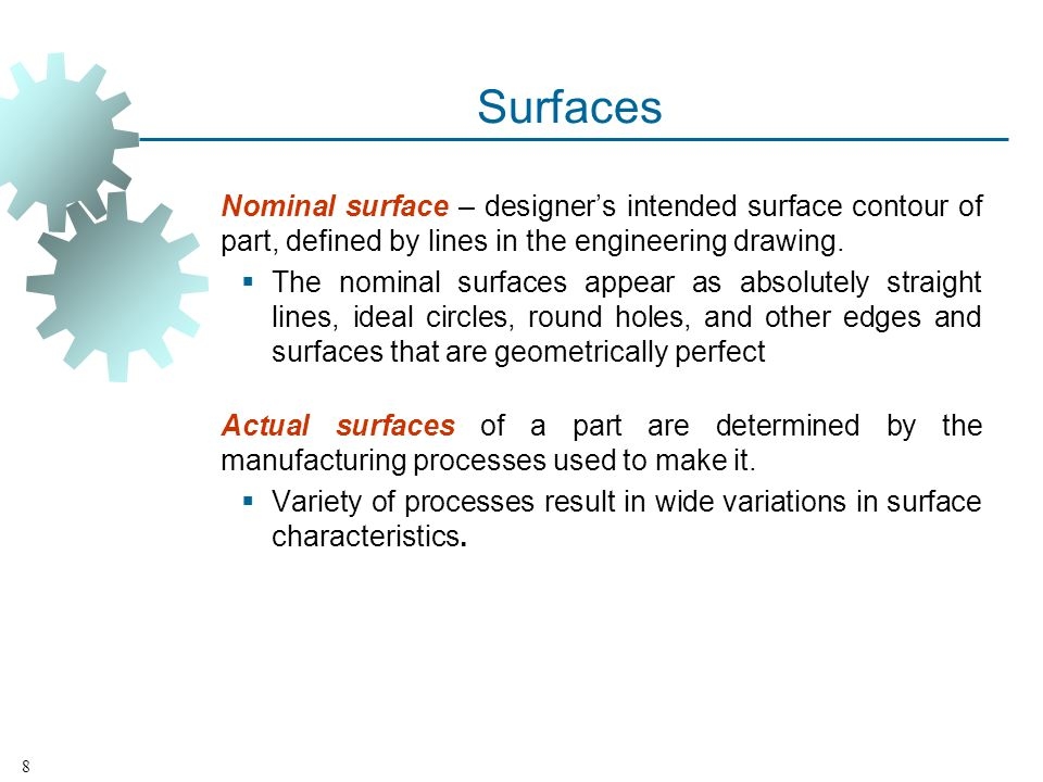 Surfaces Nominal surface – designers intended surface contour of part, defined by lines in the engineering drawing.