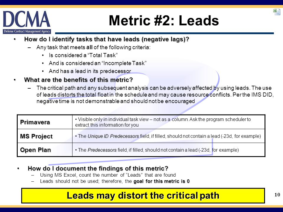 10 Metric #2: Leads How do I identify tasks that have leads (negative lags)?How do I identify tasks that have leads (negative lags).