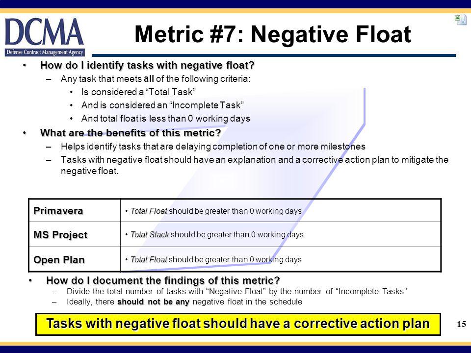 15 Metric #7: Negative Float How do I identify tasks with negative float?How do I identify tasks with negative float.