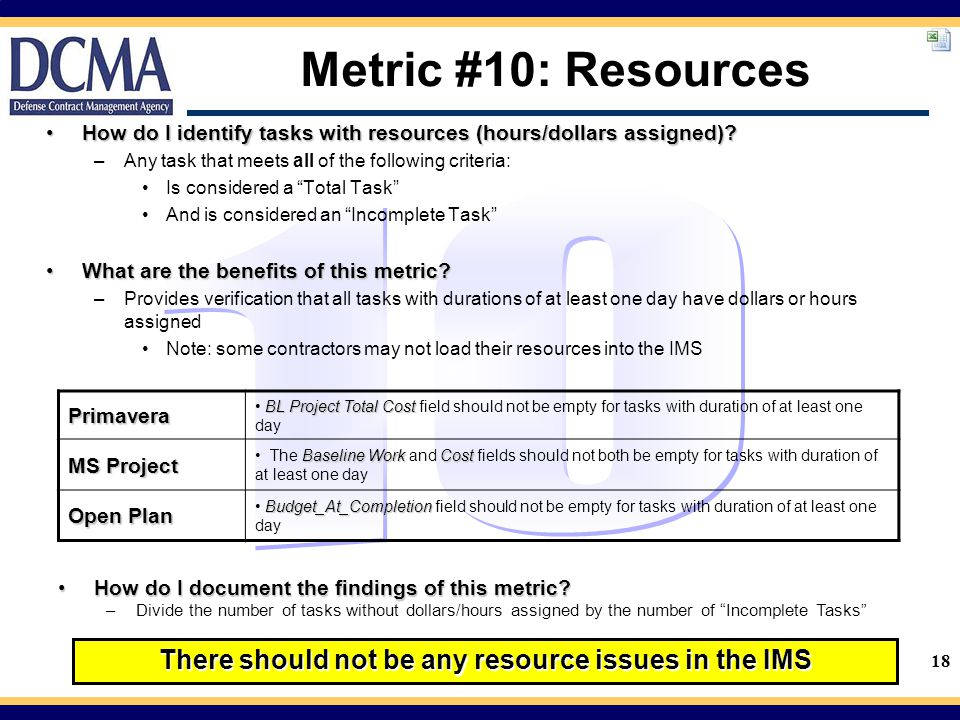 18 Metric #10: Resources How do I identify tasks with resources (hours/dollars assigned)?How do I identify tasks with resources (hours/dollars assigned).