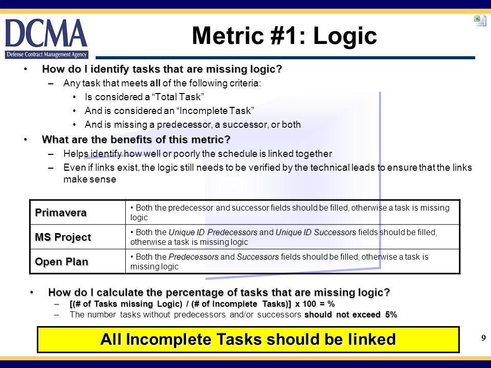 9 Metric #1: Logic How do I identify tasks that are missing logic?How do I identify tasks that are missing logic.